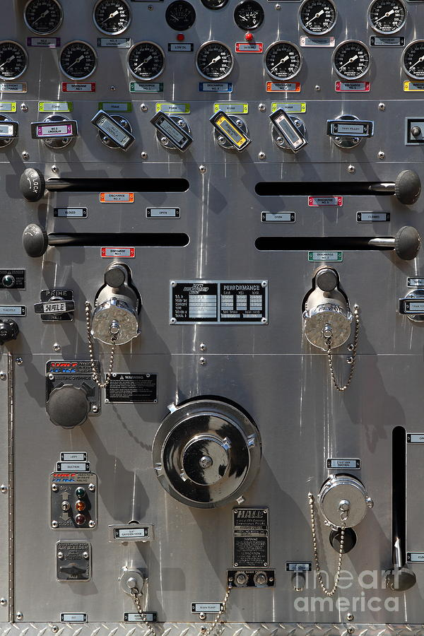 Kensington Fire District Fire Engine Control Panel . 7d15857 Photograph