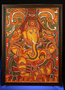 Kerala mural ganesha painting by sanam feroz for Mural art of ganesha