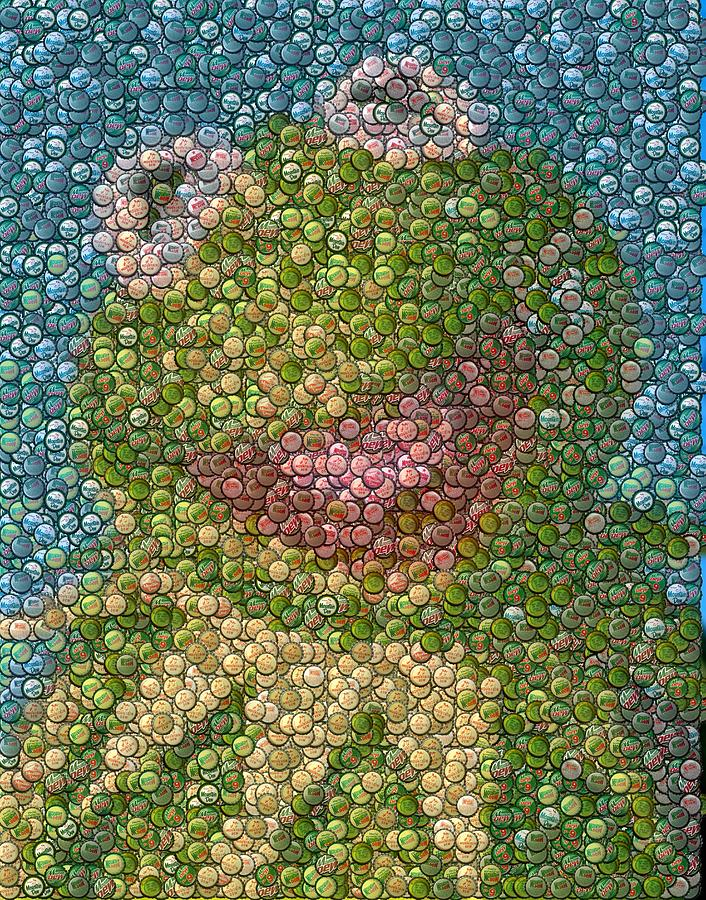Kermit Mt. Dew Bottle Cap Mosaic Mixed Media  - Kermit Mt. Dew Bottle Cap Mosaic Fine Art Print