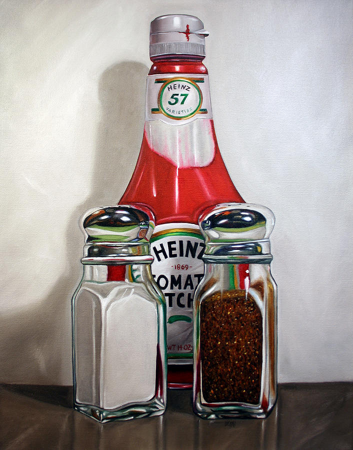 Ketchup And Salt And Pepper Shaker Painting