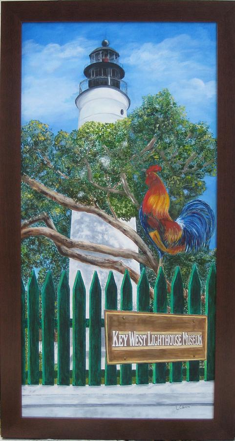 Key West Lighthouse Rooster Painting  - Key West Lighthouse Rooster Fine Art Print