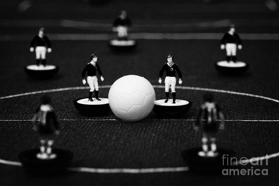 Kick Off Or Restart Football Soccer Scene Reinacted With Subbuteo Table Top Football Players Photograph