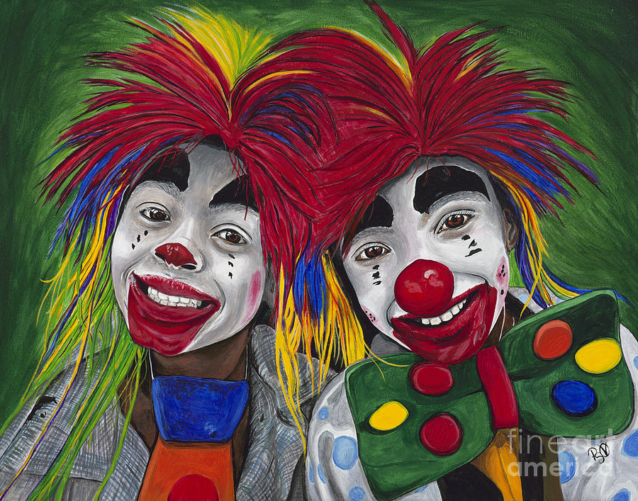 Kid Clowns Painting  - Kid Clowns Fine Art Print