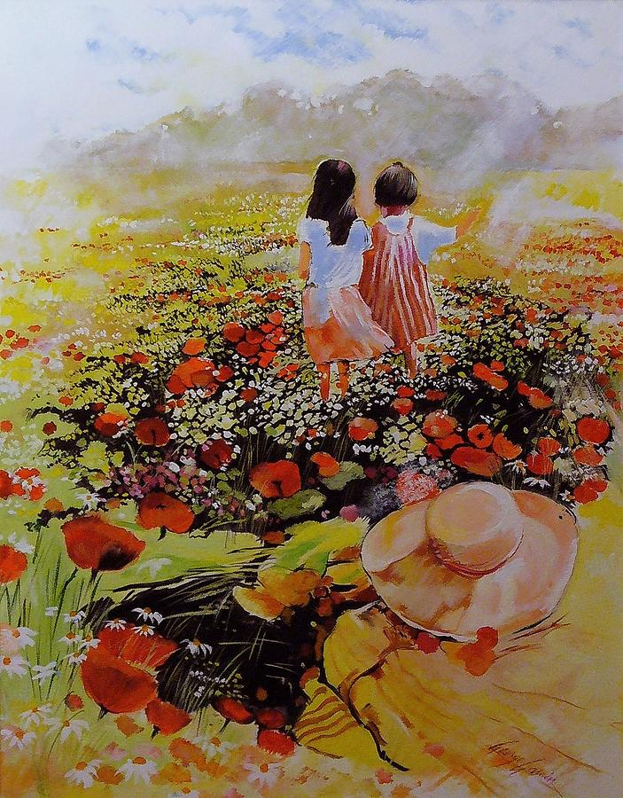 Kids In Poppies Field Painting  - Kids In Poppies Field Fine Art Print