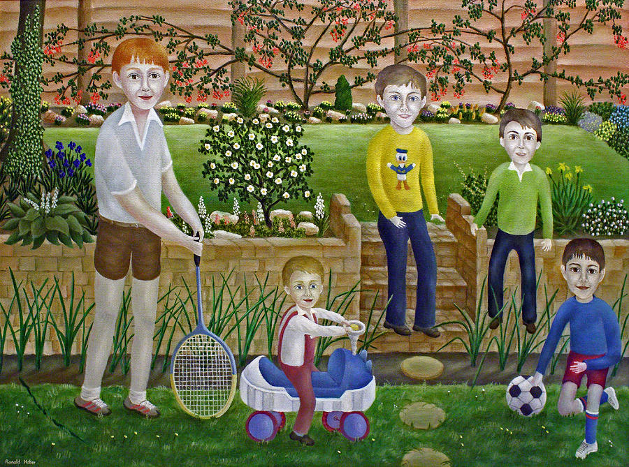 Kids In The Garden Painting  - Kids In The Garden Fine Art Print