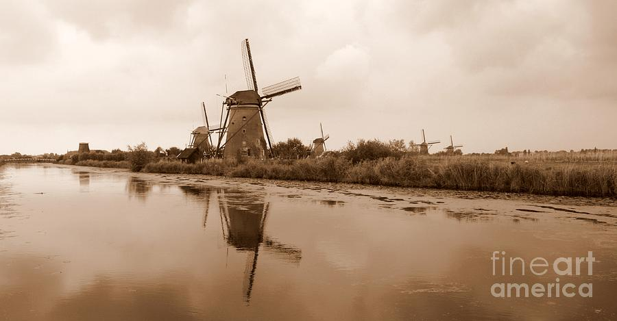 Kinderdijk In Sepia Photograph