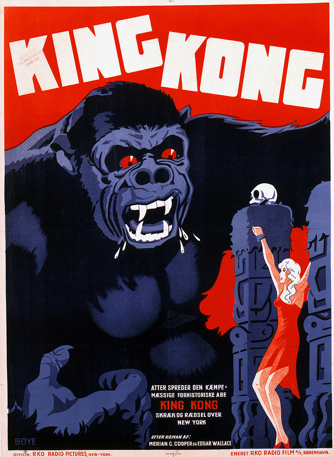King Kong, Danish Poster Art, 1933 Photograph  - King Kong, Danish Poster Art, 1933 Fine Art Print