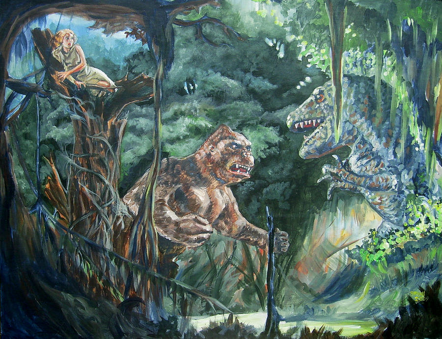 King Kong Vs T-rex Painting  - King Kong Vs T-rex Fine Art Print