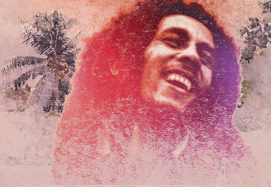 Bob Marley Reggae Miami Florida Jamaica Nine Miles Singer Songwriter Idol Famous Music Man Male Caribian Expressionism Portrait Face Laugh Laughing Digital Art Musician Digital Art - King Of Reggae by Steve K