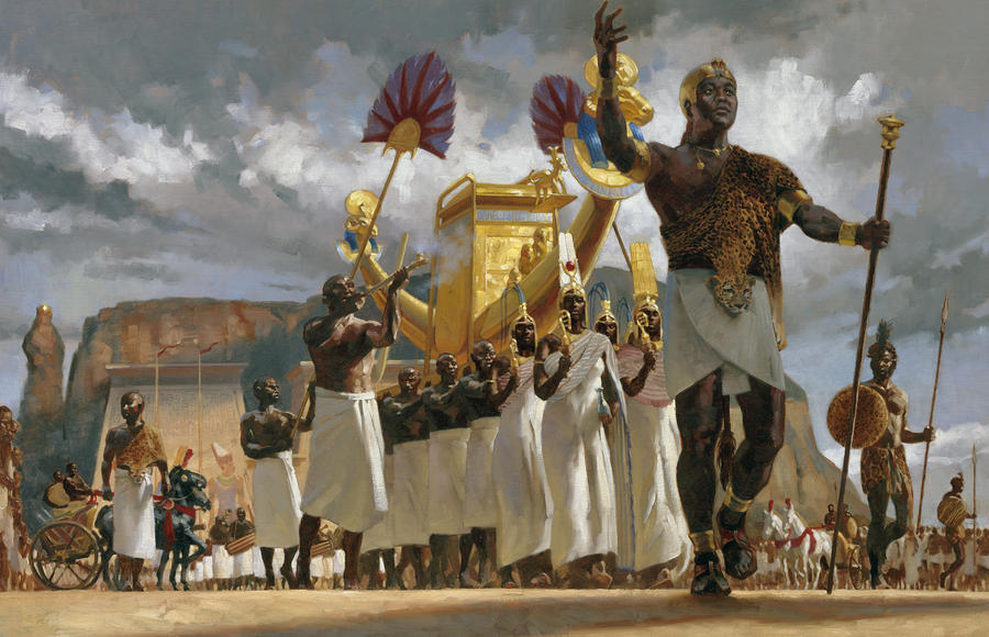 King Taharqa Leads His Queens Photograph
