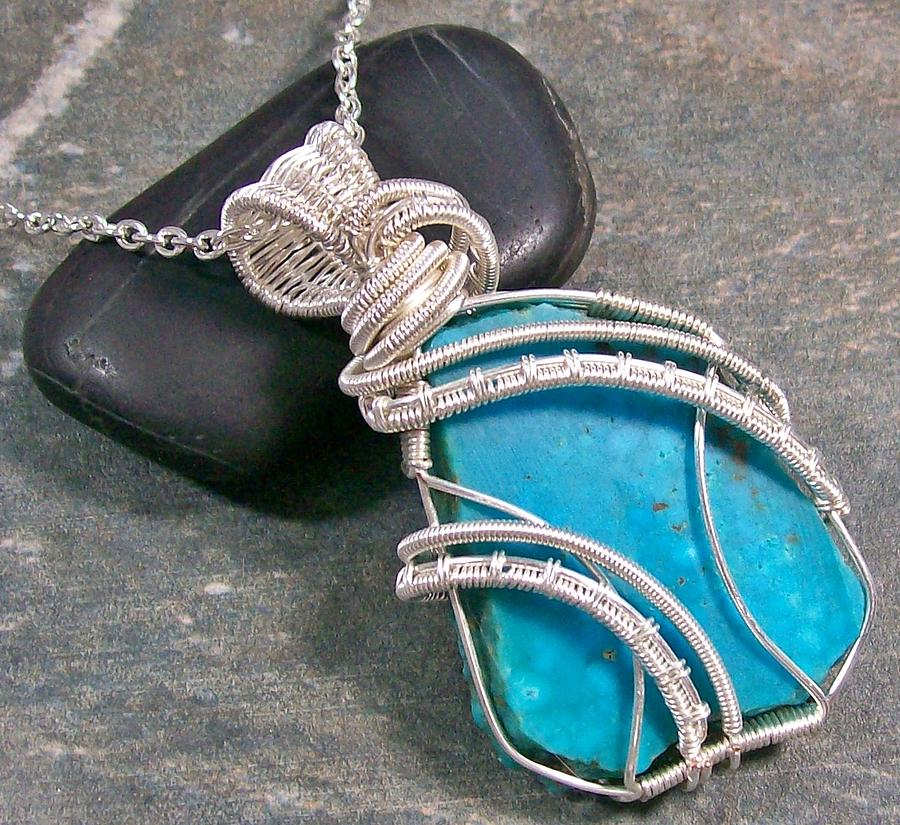 Kingman Turquoise And Silver Coil Cascade Pendant Jewelry by Heather Jordan