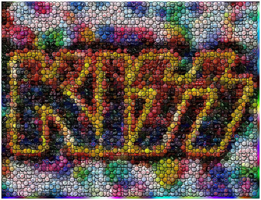 Kiss Bottle Cap Mosaic Digital Art  - Kiss Bottle Cap Mosaic Fine Art Print
