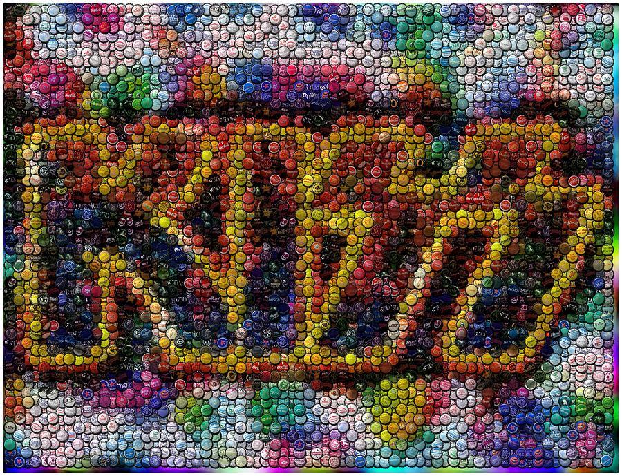 Kiss Bottle Cap Mosaic Digital Art