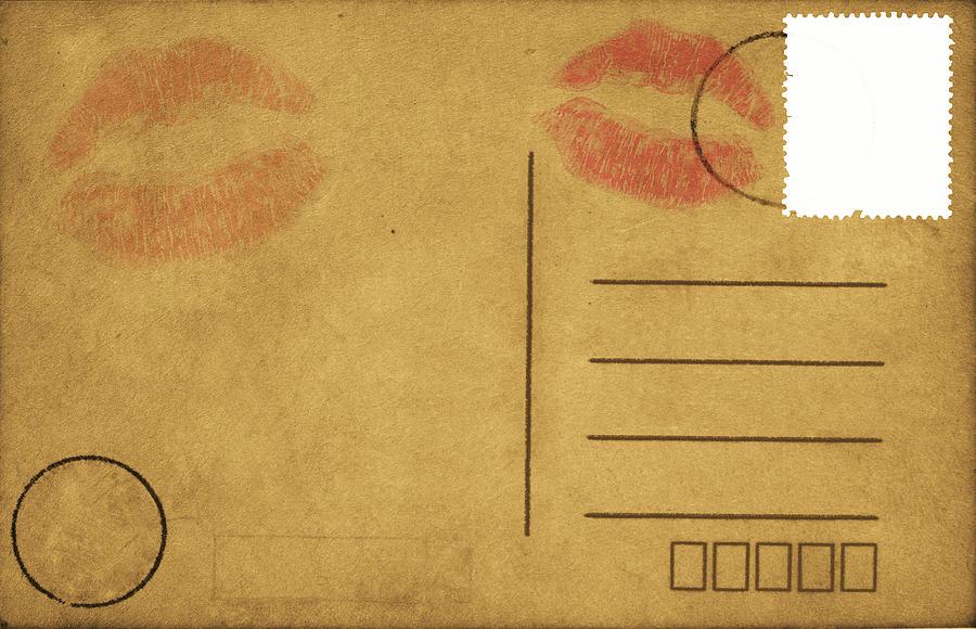 Kiss Lips On Postcard Photograph