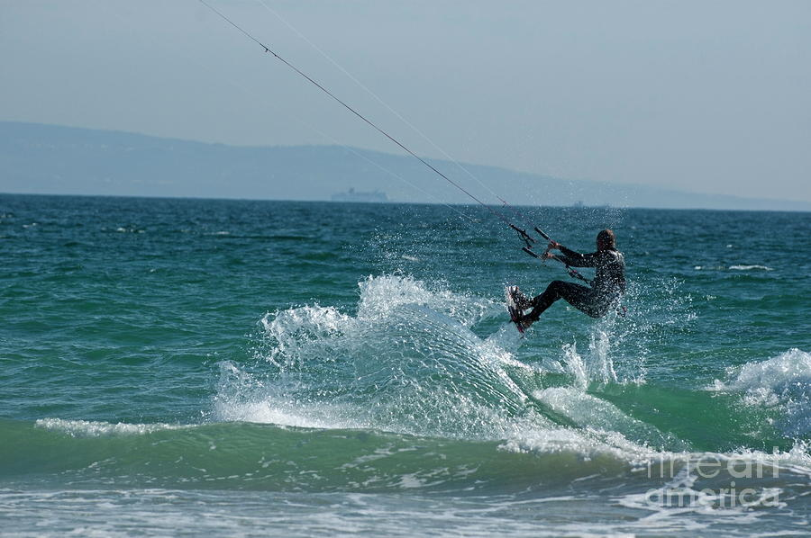 Kite Surfer Jumping Over A Wave Photograph  - Kite Surfer Jumping Over A Wave Fine Art Print