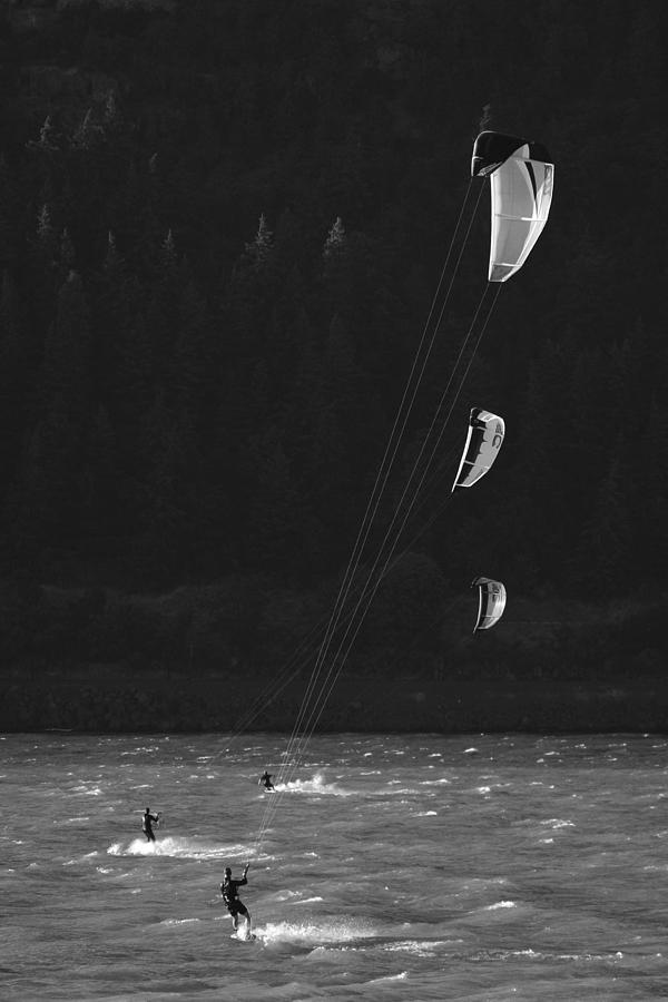 Kiteboarders In The Columbia River Photograph  - Kiteboarders In The Columbia River Fine Art Print