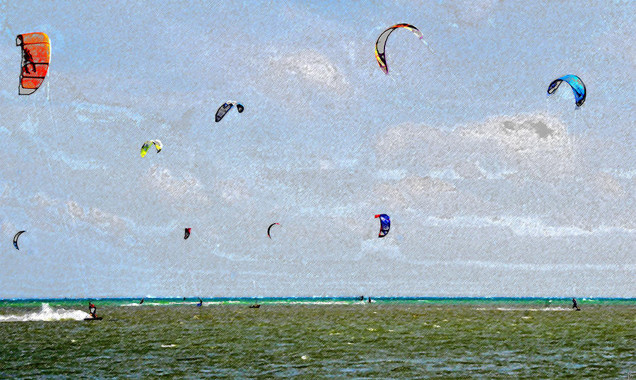 Kites Over The Bay Painting