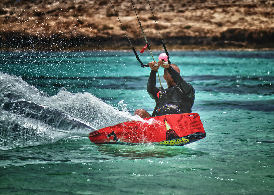 Action Photograph - Kitesurfer by Stelios Kleanthous