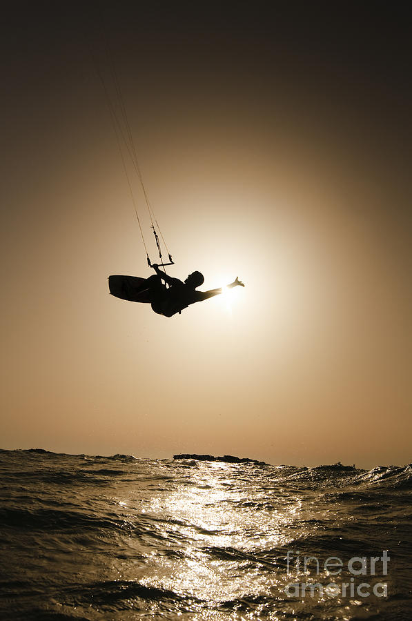 Kitesurfing At Sunset Photograph  - Kitesurfing At Sunset Fine Art Print