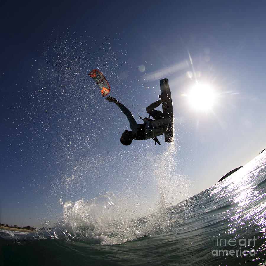 Kitesurfing In The Mediterranean Sea  Photograph  - Kitesurfing In The Mediterranean Sea  Fine Art Print