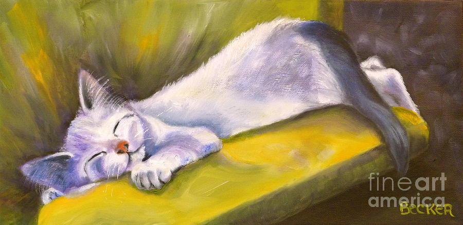 Cat Painting - Kitten Dream by Susan A Becker