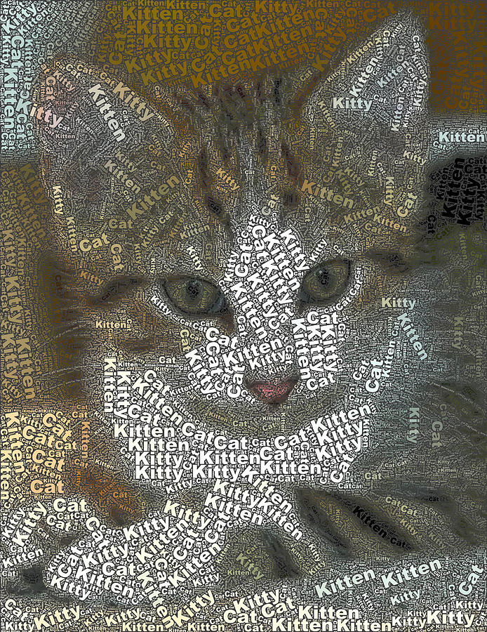 Kitten Mosaic Digital Art  - Kitten Mosaic Fine Art Print