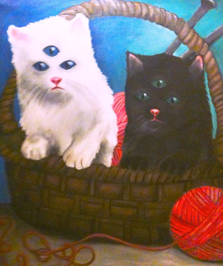Cats Painting - Kittens In A Basket by Katie Victoria Tolley