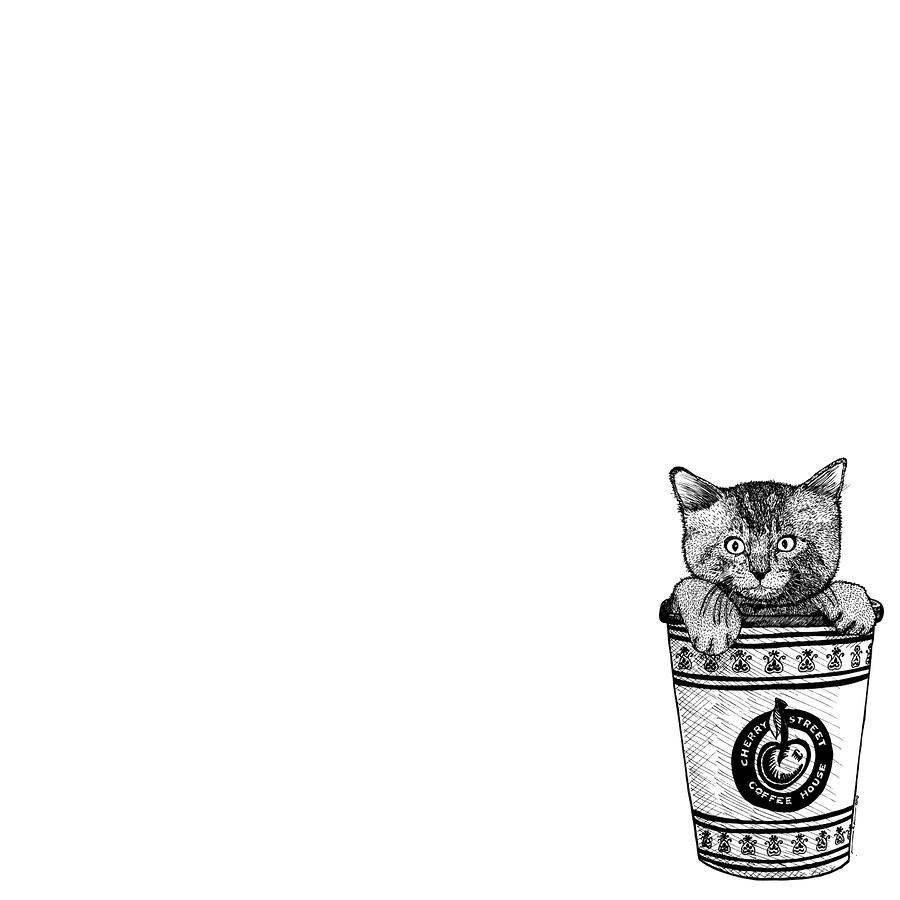 Kitty In A Coffee Cup Drawing  - Kitty In A Coffee Cup Fine Art Print