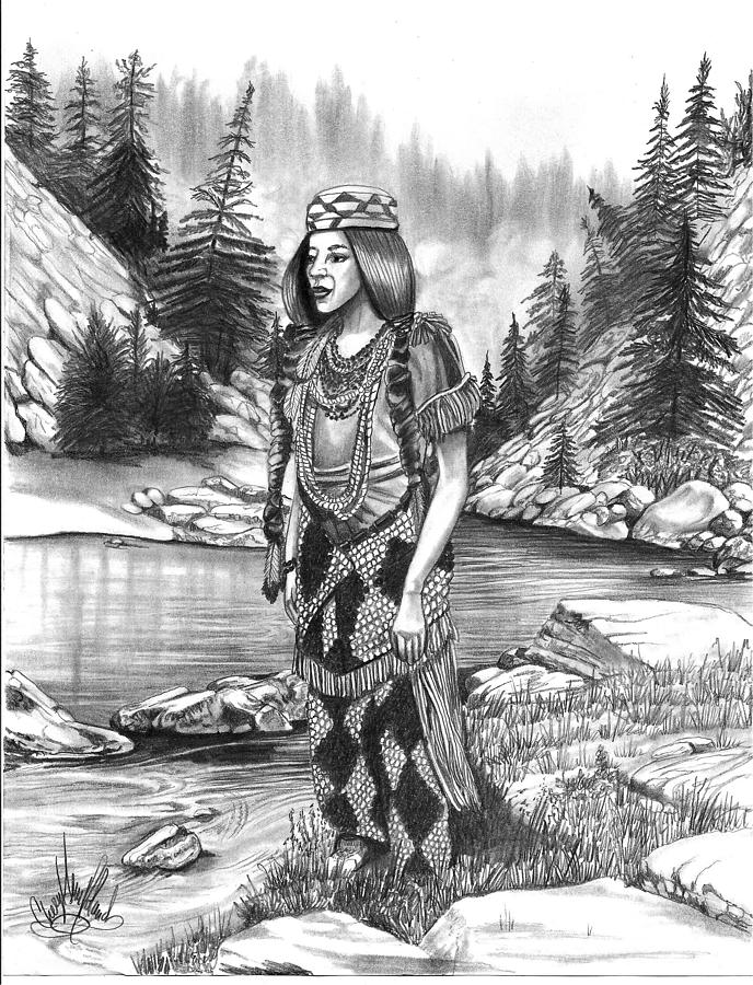 Klamath Indian Woman Drawing  - Klamath Indian Woman Fine Art Print