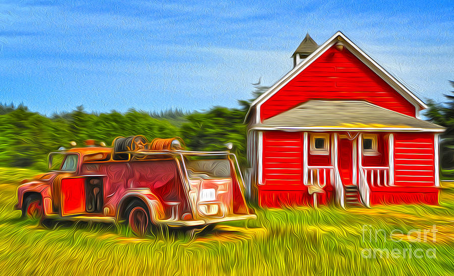 Klamath Old Fire Truck And Red School House Painting  - Klamath Old Fire Truck And Red School House Fine Art Print