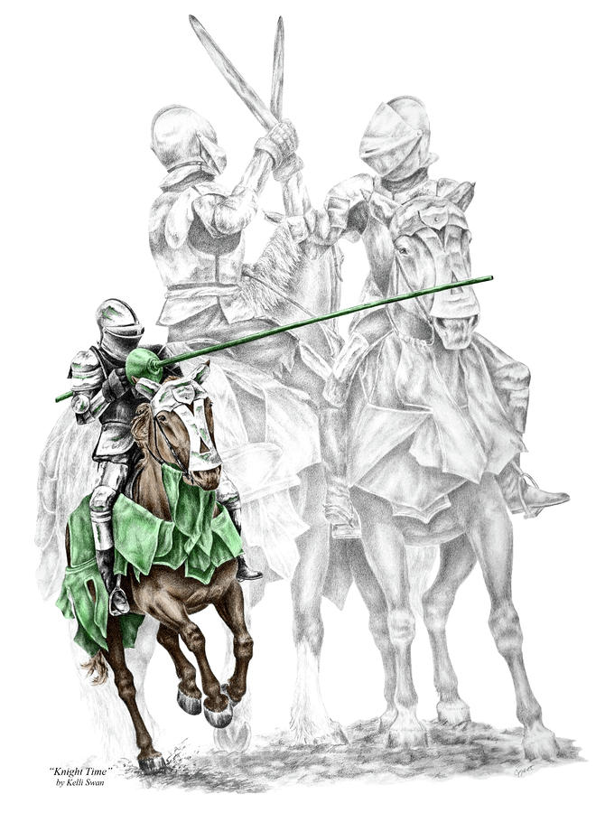 Knight Time - Renaissance Medieval Print Color Tinted Drawing