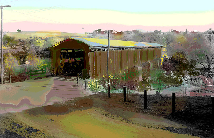 Knights Ferry Covered Bridge Mixed Media