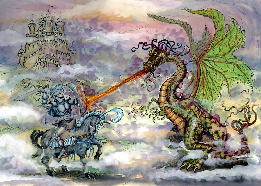 Knights N Dragons Painting  - Knights N Dragons Fine Art Print