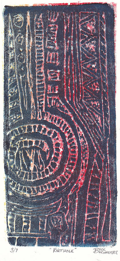 Relief Print Mixed Media - Knothole by Buck Buchheister