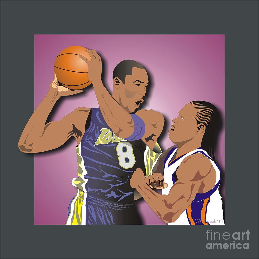 Kobe And Latrell Digital Art  - Kobe And Latrell Fine Art Print