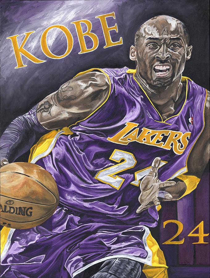 La Lakers Kobe Bryant Nba Basketball David Courson Sports Art Painting - Kobe Bryant by David Courson