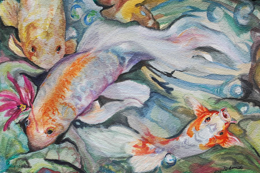 Koi fan tail fish painting by phyllis barrett for Koi fish tail