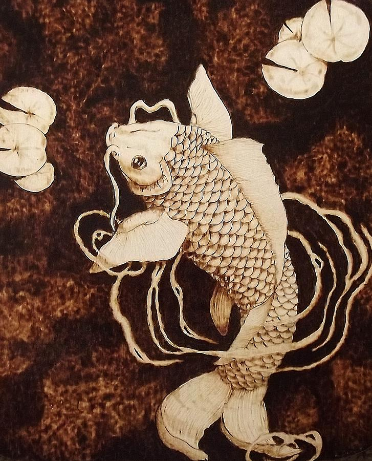 Koi Fish Pyrography