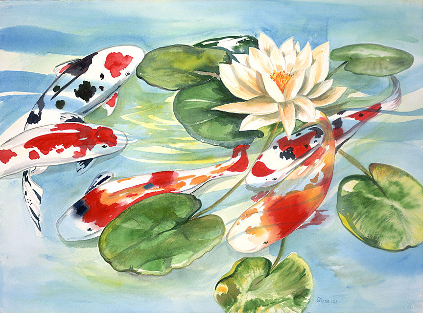 Koi In The Water Lilies Painting