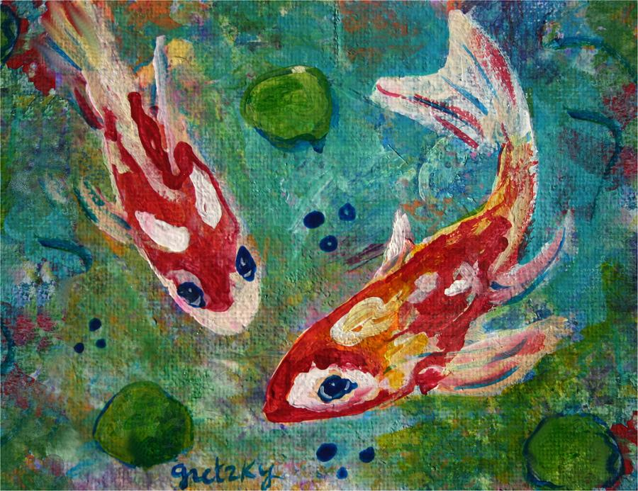 Koi pond 2 by paintings by gretzky for Koi fish pond art