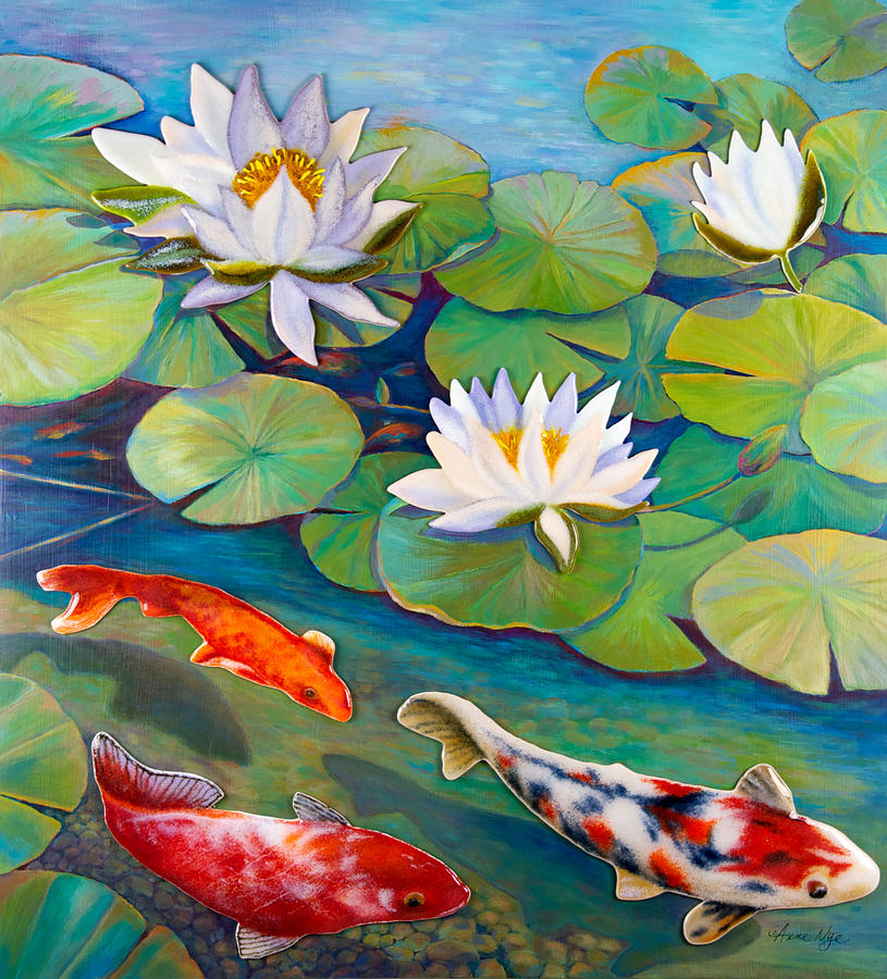 Koi pond painting by anne nye for Koi fish pond drawing