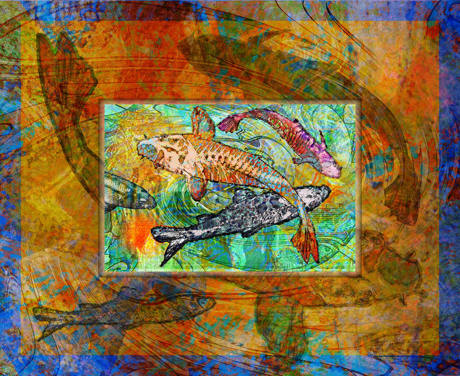 Koi Pond Digital Art  - Koi Pond Fine Art Print