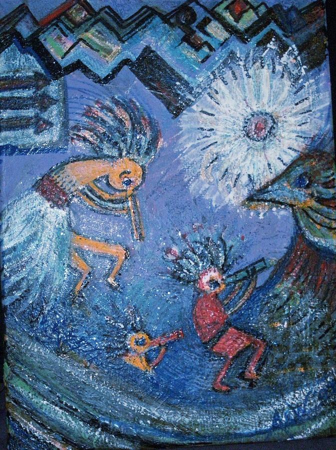 Kokopelli Dancers And Big Bird Painting
