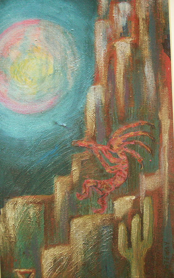 Kokopelli Night Watch Painting  - Kokopelli Night Watch Fine Art Print