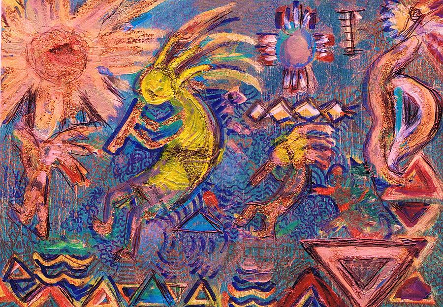 Kokopellis Gone Crazy In The Noonday Sun Mixed Media  - Kokopellis Gone Crazy In The Noonday Sun Fine Art Print