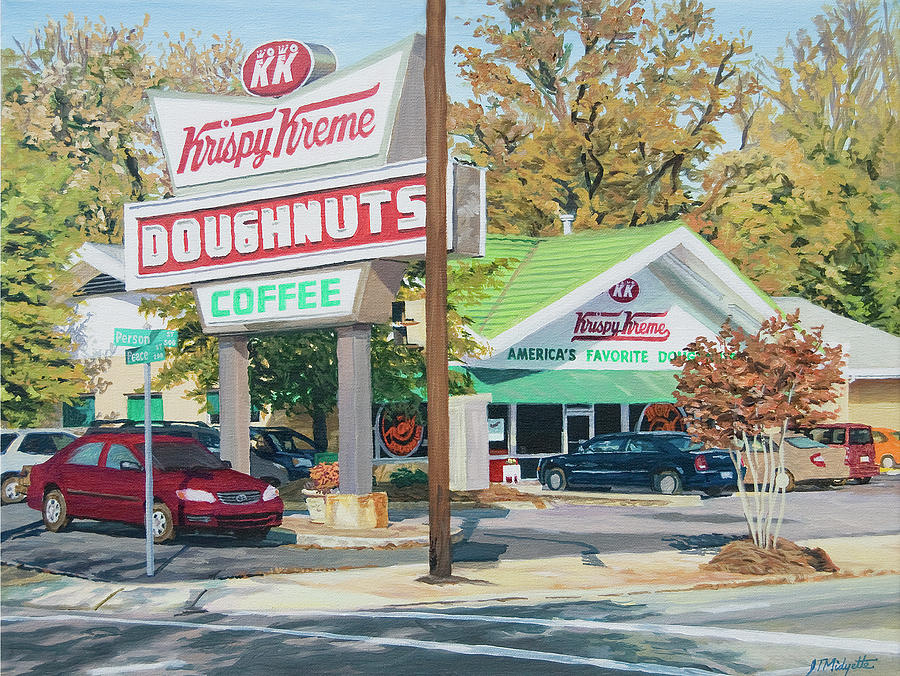 Krispy Kreme At Daytime Painting  - Krispy Kreme At Daytime Fine Art Print