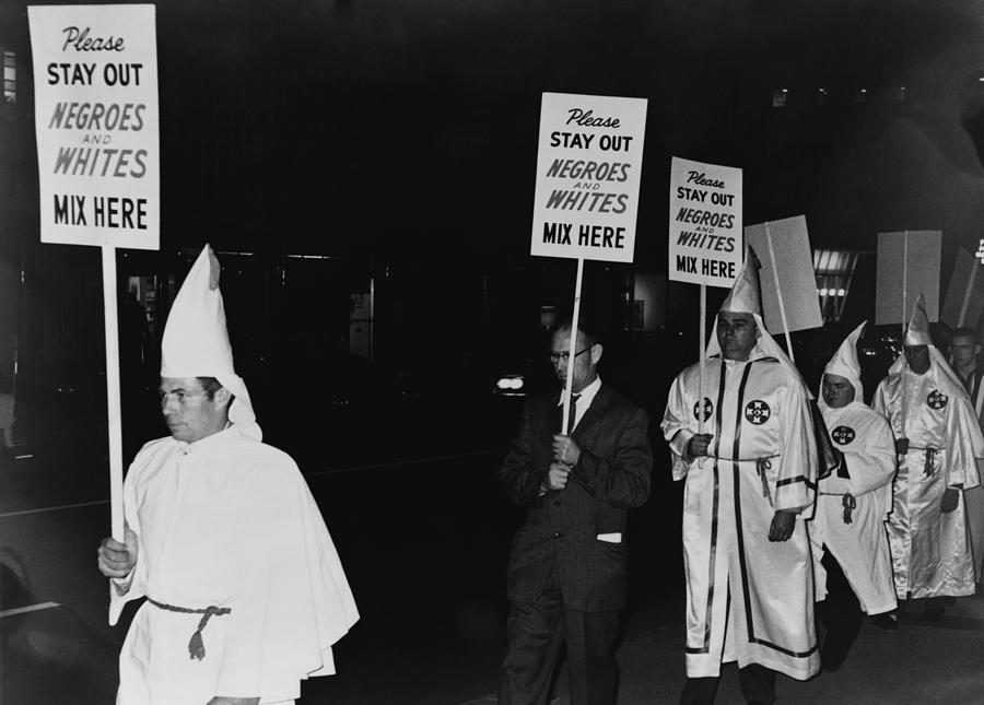 History Photograph - Ku Klux Klan Members, In Hooded White by Everett
