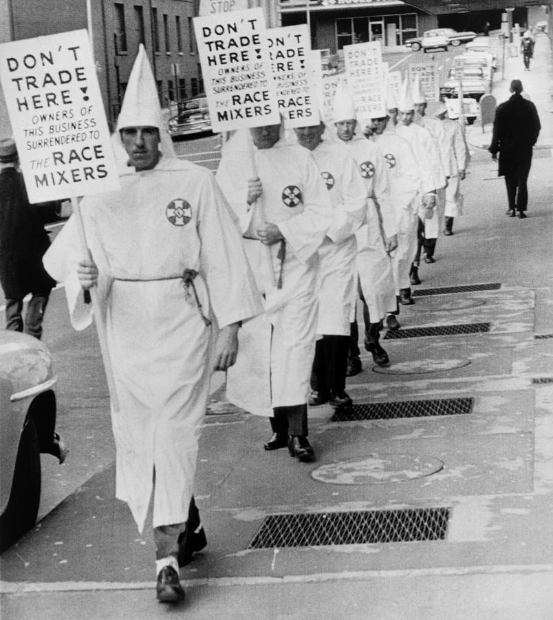 Ku Klux Klansmen Picket Newly Photograph by Everett