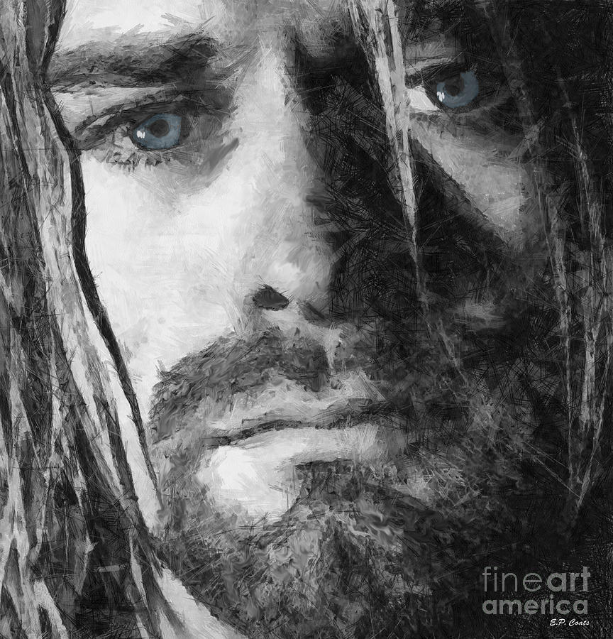Kurt cobain drawing by elizabeth coats for Black and white celebrity prints