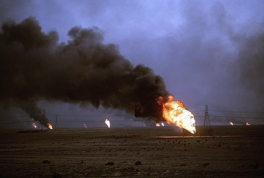 Kuwaiti Oil Wells Set On Fire Photograph  - Kuwaiti Oil Wells Set On Fire Fine Art Print